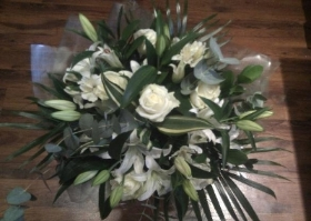 Classic White Rose and Lily Bouquet