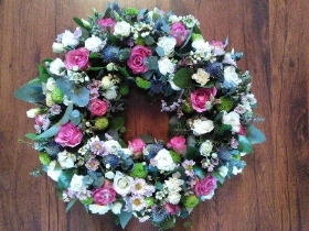 Pink and White Floral Wreath